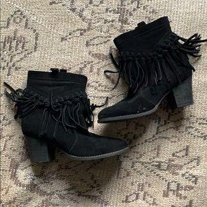 Black suede tassel booties